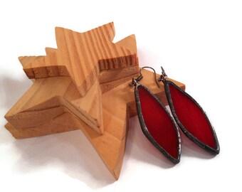Red Spear Earrings Stained Glass Earrings Glass Metal Jewelry Handmade Earrings Dangle Drop Earrings Red Glass Earrings For Her Red Jewelry