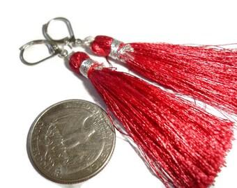 Tassel earrings tassle earrings very red tassel earrings silk flowing earrings moving earrings silk earrings silk tassel hypo earrings