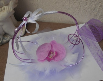 Original ring holder - purple and white with Orchid purple
