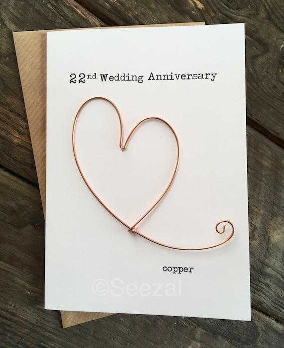 22nd Wedding Anniversary Gift Ideas: 22nd Wedding Anniversary Designer Keepsake Card COPPER Wire
