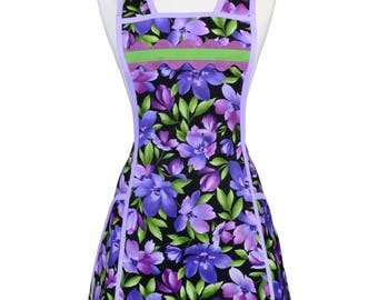 Retro Women's Apron in Purple and Green Floral - Look Cute in the Kitchen when you wear this Flattering Style