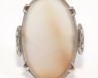Art Deco Agate Marcasite Sterling Ring