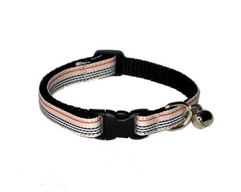 Preppy Striped Cat Collar with Breakaway Safety Buckle