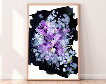 Floral Art Print Abstract Acrylic Modern Wall Art Violet Flower Large Art Prints Violet Decor Black and Purple Painting by CreativeIngrid