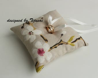 Linen wedding ring bearer pillow with spring flowers- ring bearer pillow, wedding pillow , ring bearer, ring cushion-ready to ship