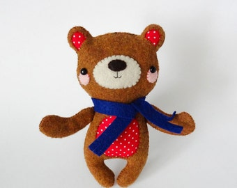 Super Sweet Handsewn Felt Teddy Bear