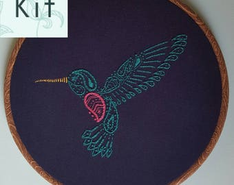 Embroidery Kit - Paisley Hummingbird - DIY Embroidery - Sewing Project - Craft Kit - Contemporary & Modern Embroidery - Craft Gift