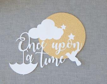 Once upon a time. Fairytale art. Nursery wall art. Fairytale nursery. Baby shower gift. Nursery paper cut. Storybook art. Nursery decor.