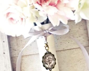 Custom Wedding Charm, Bouquet Photo Pendant, Bridal Photo Charm, Bouquet Memorial Charm, Bouquet Photo Charm, Heirloom Charm, Gift for Bride