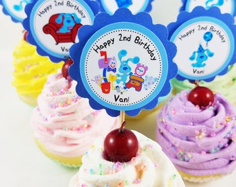 "Personalized Blue's Clues 2"" Scallop Mix 'n Match Cupcake Toppers"