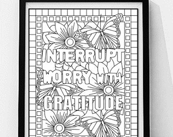 Inspirational Quote Coloring PagePrintableQuote Printable Wall ArtInterrupt Worry With Gratitude
