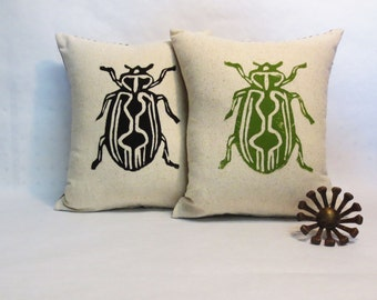 Hand Block Printed Beetle Insect Pillow