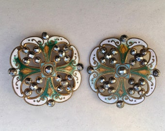 Antique Pierced Enamel and Steel Buttons Collectible Buttons