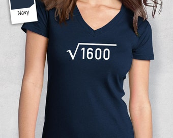 40th Birthday, 1977 Square Root, 40th Birthday Idea, Women's V-Neck, 40th Birthday Present, or Birthday Gift, For The Lucky 40 Year Old!