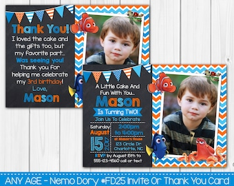 Any Age Nemo - Dory - Fish Birthday Invitation OR Thank you Card Note -Digital File