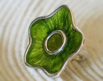 Green Flower Ring, Statement Flower Sterling Silver Ring