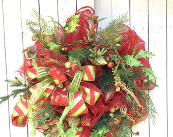 Christmas Wreaths, Christmas Mesh Wreath,Traditional Christmas Wreath, Large Christmas Wreath, Double Door Christmas Wreaths