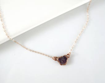 Raw Ruby Necklace • Rose Gold Necklace • Dainty Gem Stone Necklace • Red Ruby • Gift for Mother • Simple, Delicate Jewelry • Handmade
