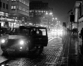 London Taxi print, Black Cab Print, London Prints, City Print, Black White Photography prints, street photography, London art prints