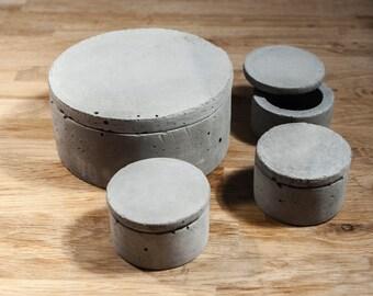 Small concrete boxes.
