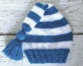 Newborn Baby Stocking Cap, Hand Knit Blue and White Striped Elf Hat with Tassel, Infant Size 3 to 6 Months, Warm Winter Clothes for Children