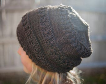 Hand knit brown slouchy beanie hat