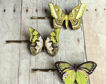 Green Yellow Pink Butterfly Hair Accessory Fairy Accessories Barrette Sea Goddess