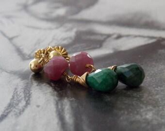 Emerald and Pink Sapphire Gold Fill Earrings, Dainty Earrings, Gemstone Earrings, May Birthstone