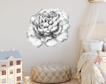 Watercolor Black & White Peony #2 Wall Decal, Watercolor Peony, Large Self Adhesive Sticker, Floral Wall Decals, Peony Flower Room Decor