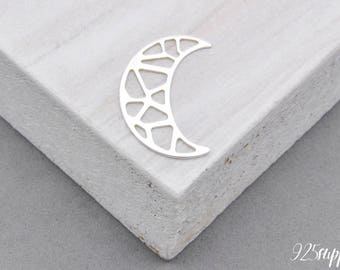 925 Sterling Silver moon, the moon pendant, a small moon, the moon jewelry, padlock, blank moon, the moon element,