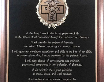 Oath of a Pharmacist Custom Plaque - Can be Personalized - Great Graduation Gift or Award