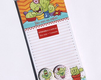 Notepad magnetic family cactus + 2 magnets
