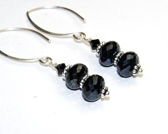 Black Earrings - Black Spinel Gemstone - Dangle Earrings - Modern - Almond Shape Sterling Silver ear wires