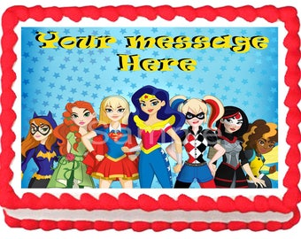 SUPERHERO GIRLS image Edible cake topper party decoration