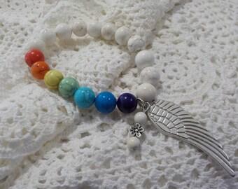 Chakra Angel Wing Bracelet - 10mm Howlite xx