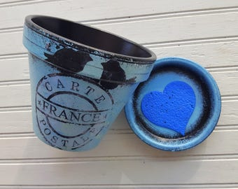 Painted Flower Pot - Black and Blue - Rustic Planter - Vintage Room Decor - Rustic Room Decor