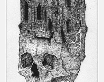 Skull Ruin A3 print