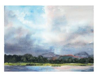Cloud Symphony Ring of Beara Ireland Original Watercolor Painting