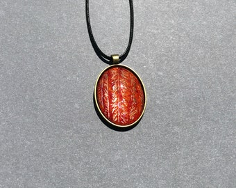 Phoenix Feather Charm Pendant - Fiery Phoenix From the Ashes Pendant - Hand Painted Phoenix Feather Glass Pendant - Corded Necklaces