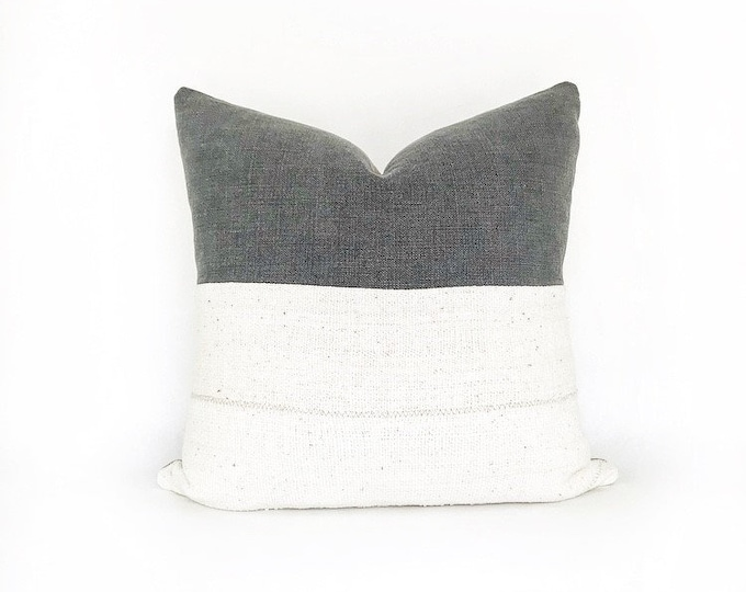 African Mudcloth And Charcoal Gray Belgian Linen Pillow Cover 20x20