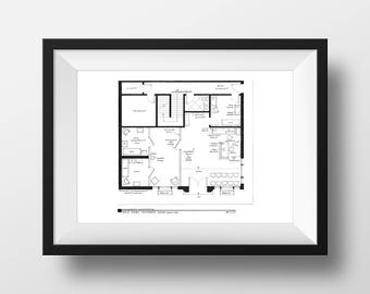 Mayberry Courthouse Floor Plan | The Andy Griffith Show | Sheriff Andy Taylor and Barney Fife Poster | Unique gift for Christmas!