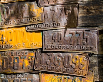 Colorado license plates art, rustic decor, Crested Butte art, rusty metal photo, cabin wall art, Colorado art, rustic wall decor, wall art