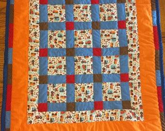 baby quilt, baby boy quilt, truck quilt, orange quilt, orange and blue quilt