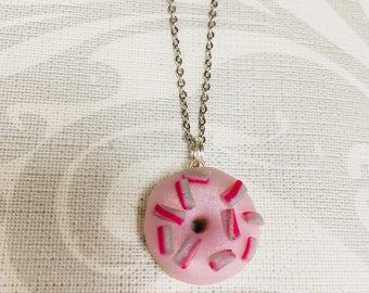 Handmade Polymer Clay Pink Sprinkles Doughnut Necklace
