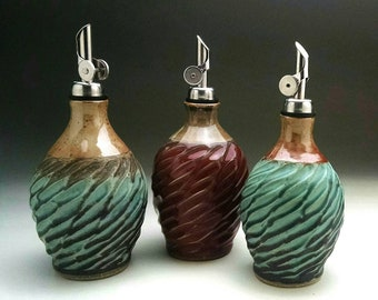 "Olive Oil Cruet...""Ready to Ship"" Aqua / Shino & Red / Shino"