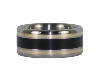 Blackwood and Gold Titanium Ring