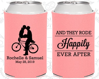 And They Rode Happily ever After, Wedding Gift, Bicycles, Southern Gifts, Wedding Can Coolers (201)