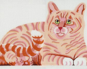 Hand Painted Needlepoint Cat Canvas - Red Marmalade Ginger Cat - front, back and bottom