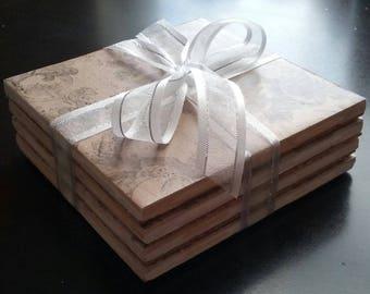 Handmade antique wallpaper ceramic tile coasters