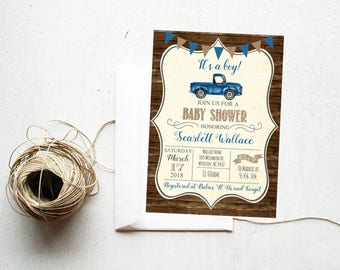 Baby Shower Blue Vintage Truck Rustic Wood Baby Boy Farm Country Shower Invite, Invitation with Antique Truck, Printable or Printed #1060
